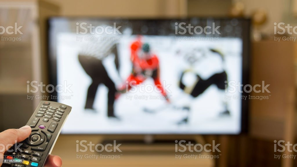 ice hokey game on the tv stock photo