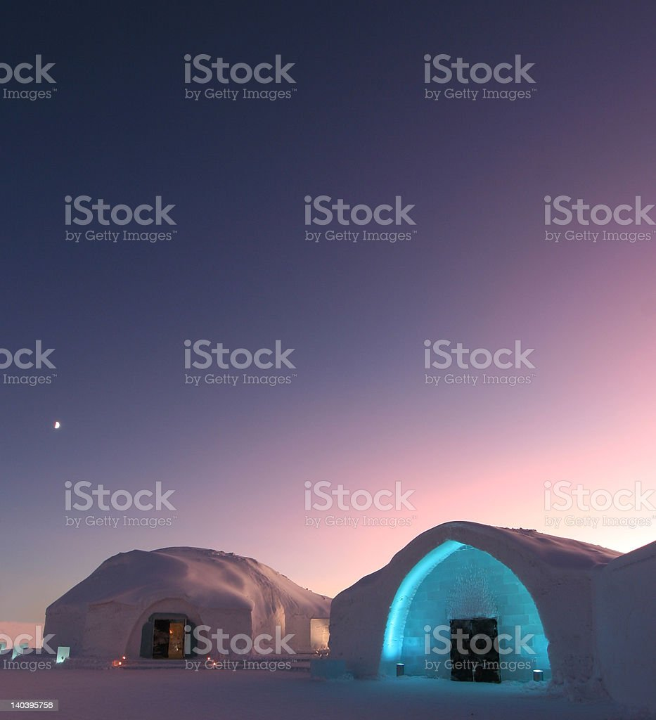Ice hotel located in Sweden in the morning stock photo