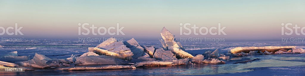 Ice hummocks on the Lake Balkhash, Kazakhstan stock photo