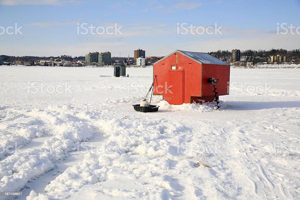 Ice Huts Kempenfelt Bay, Barrie, Ontario stock photo