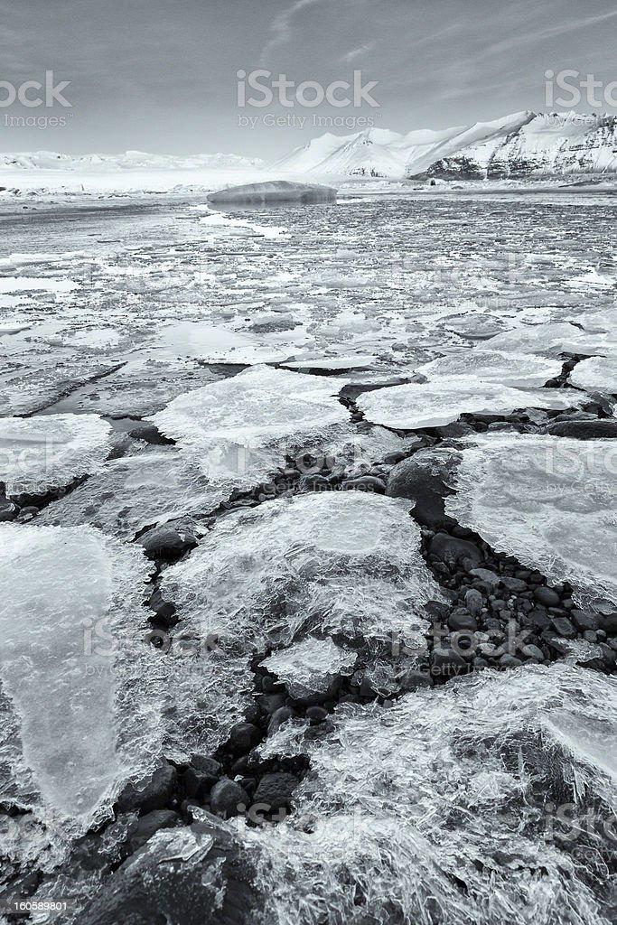 Ice in frozen lagoon, Jokulsarlon, Iceland stock photo