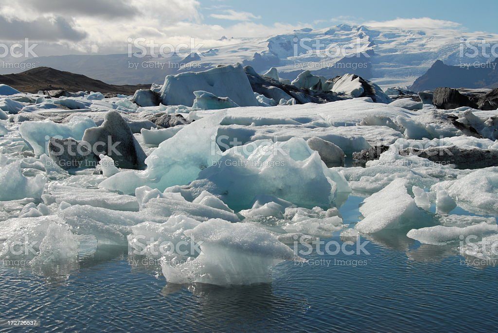 Ice in the Water at Jokulsarlon Lagoon in southern Iceland stock photo