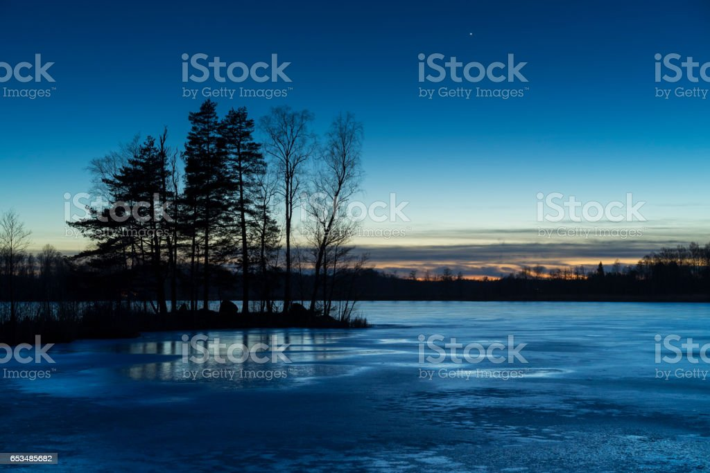 Ice lake in Sweden Scandinavia Europe stock photo