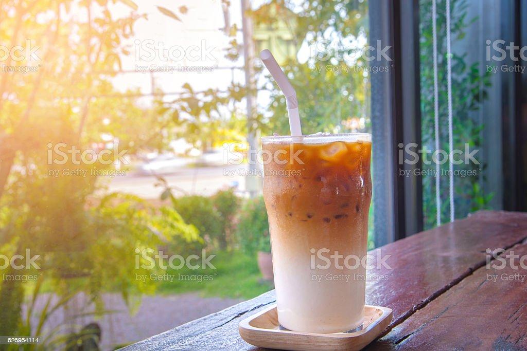 ice latte macchiato coffee in glass stock photo