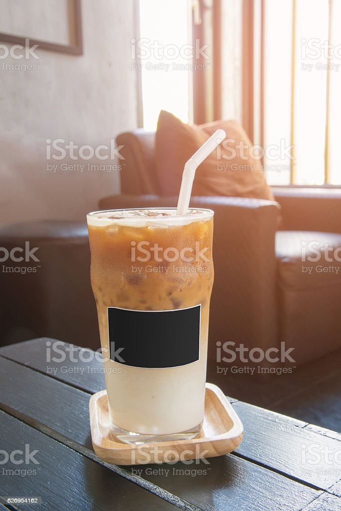 ice latte macchiato coffee in glass stock photo