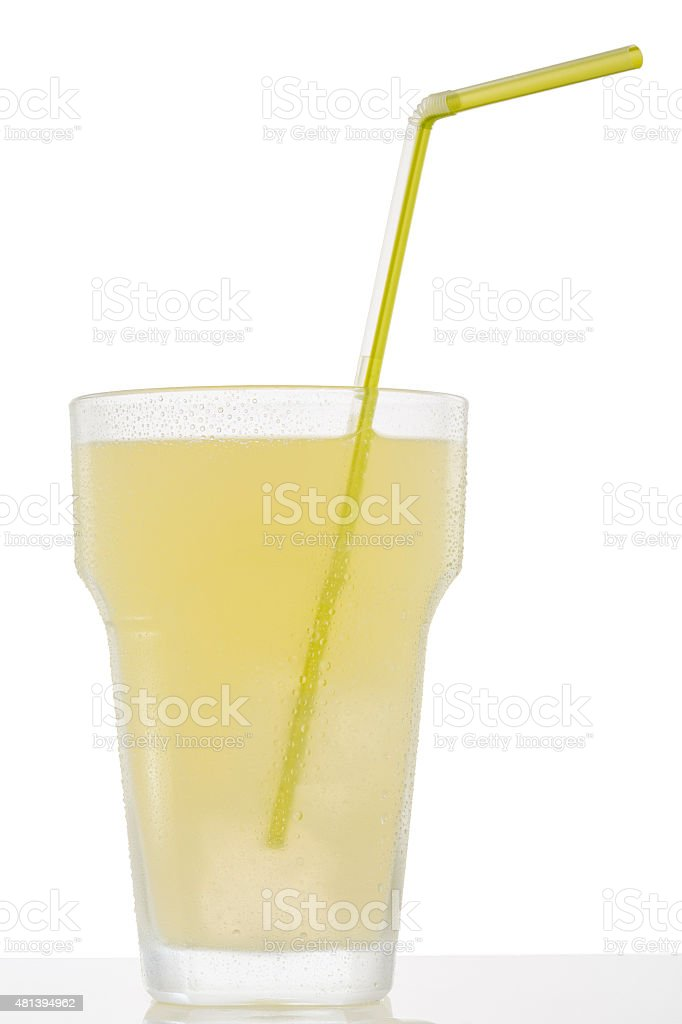 Ice lemonade cold drink    Glass  bitter lemon   with ice cubes stock photo