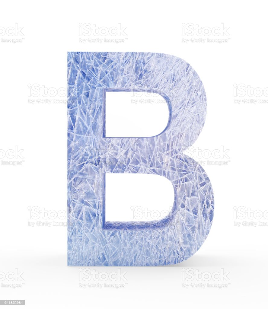 Ice letter B on white stock photo