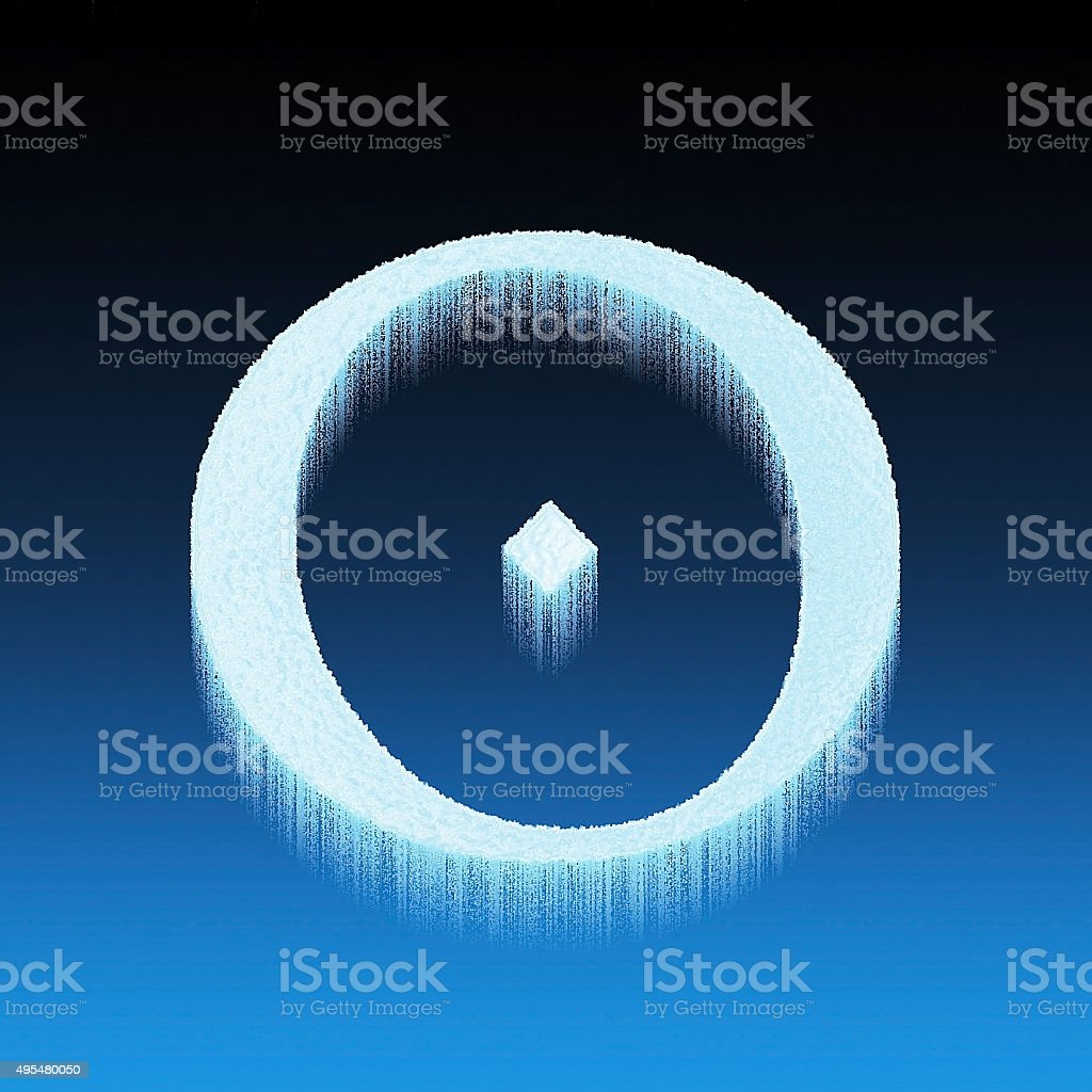 O ice letter frozen isolated over blue background vector art illustration