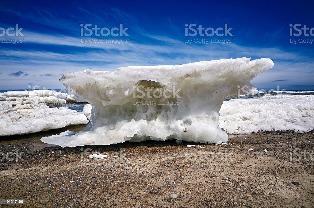 Ice melts sea beach stock photo