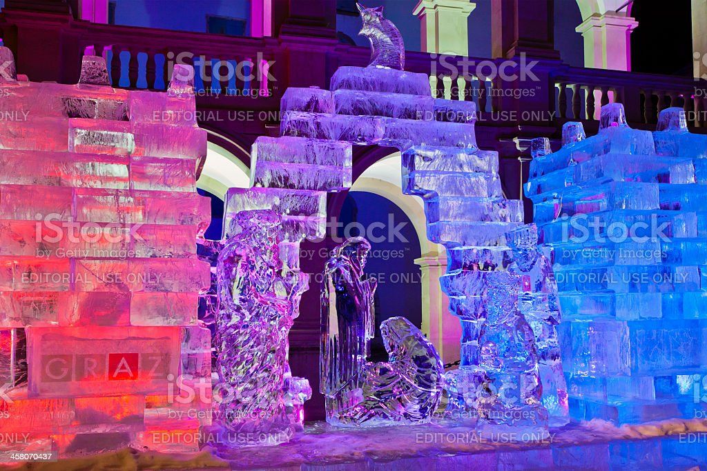 Ice Nativity Scene, Graz stock photo