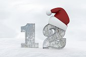 Ice Number 12 with christmas hat 3d rendering illustration