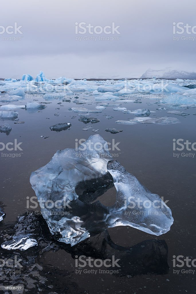 Ice on beach of glacier lagoon royalty-free stock photo