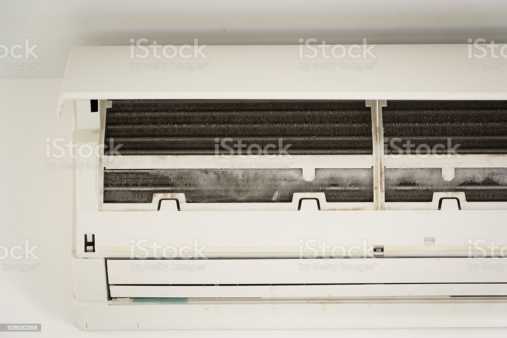 ice on coil cooler of dirty air conditioner stock photo