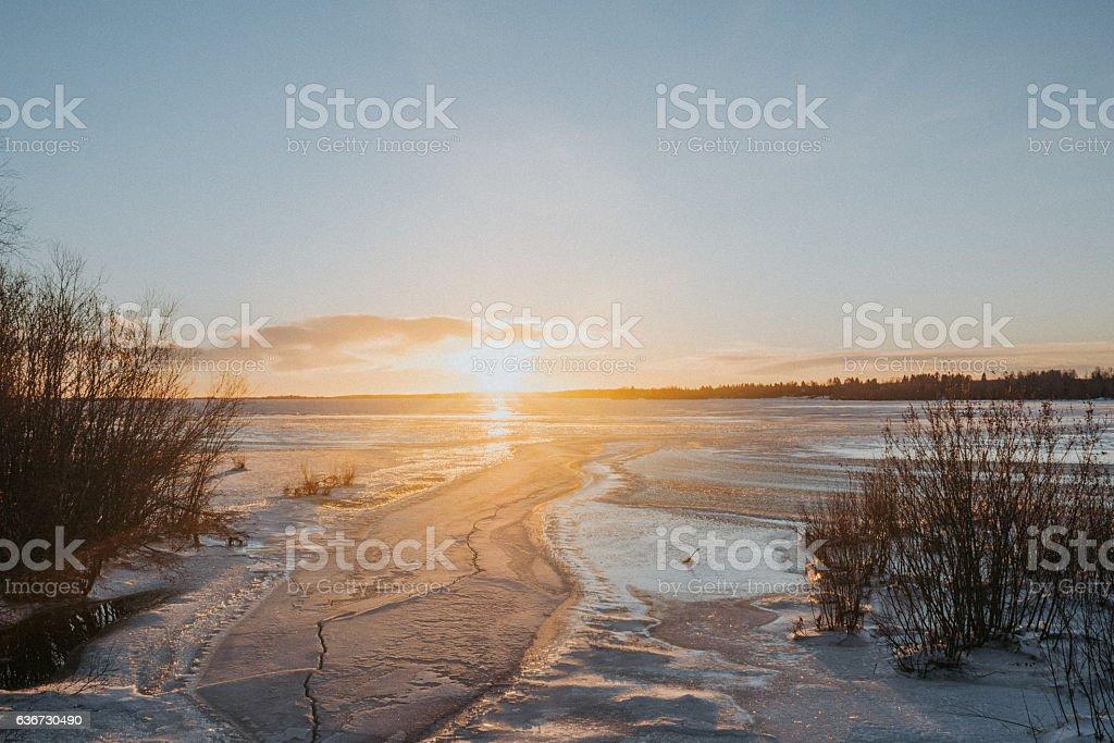 Ice on gulf of Bothnia Baltic Sea stock photo