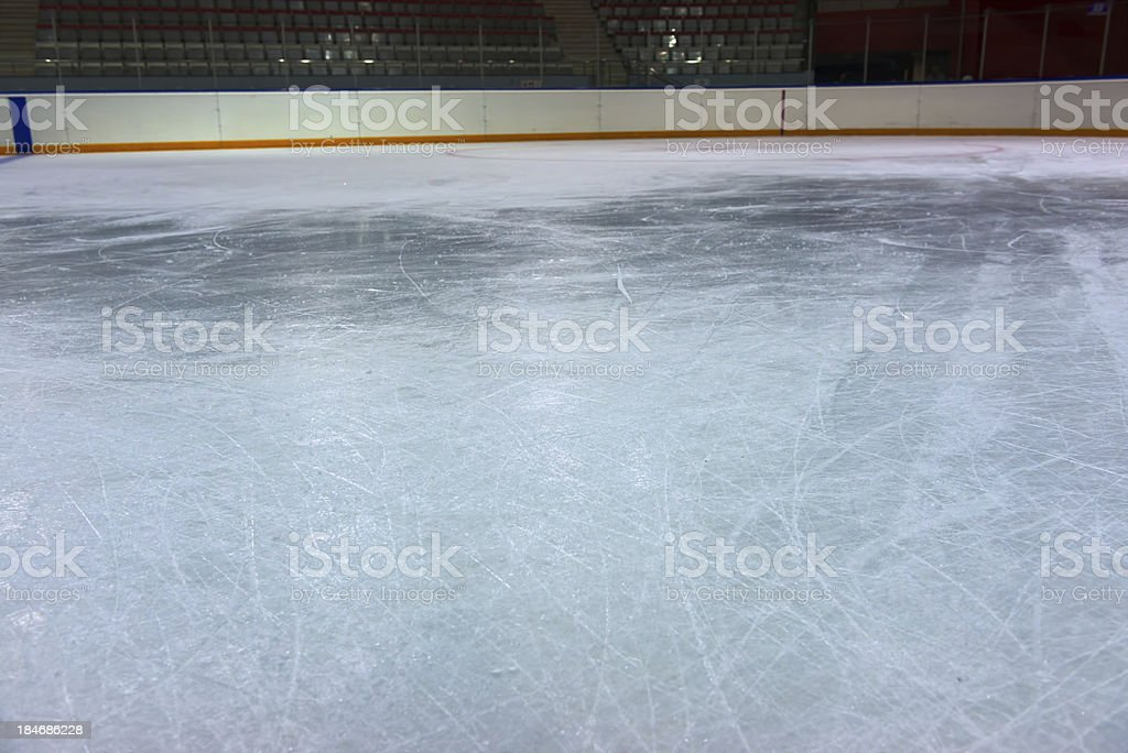 Ice on hockey rink stock photo