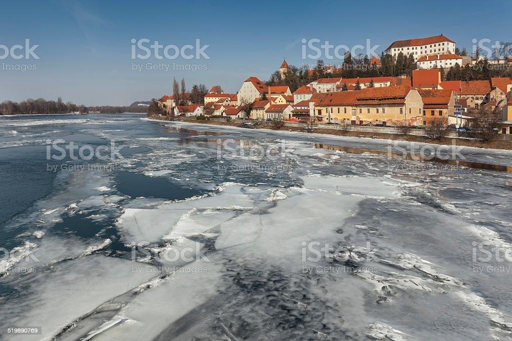 Ice on river Drava at Ptuj, Slovenia stock photo