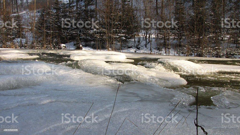 Ice on river Waldaist, near Pregarten, Upper Austria stock photo