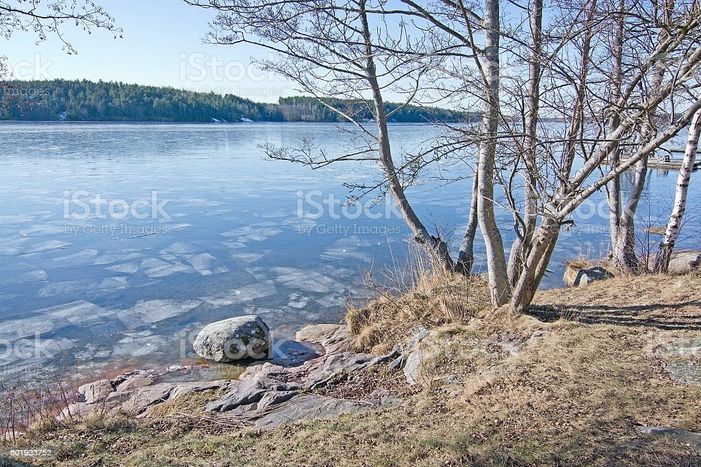 Ice on the lake stock photo