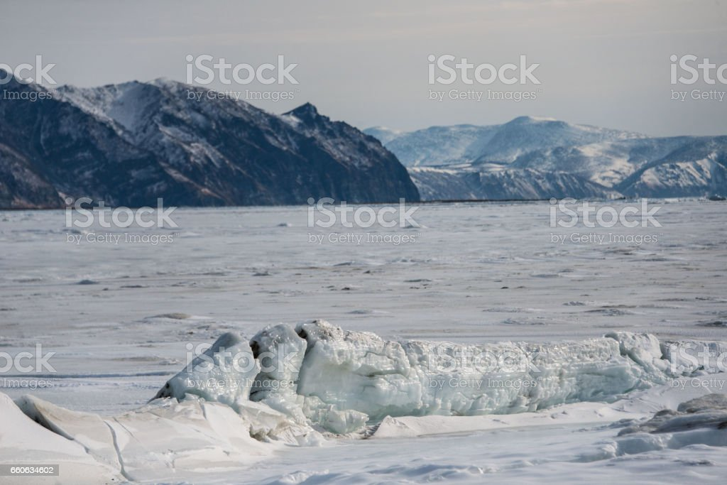 Ice on the Sea of Okhotsk stock photo