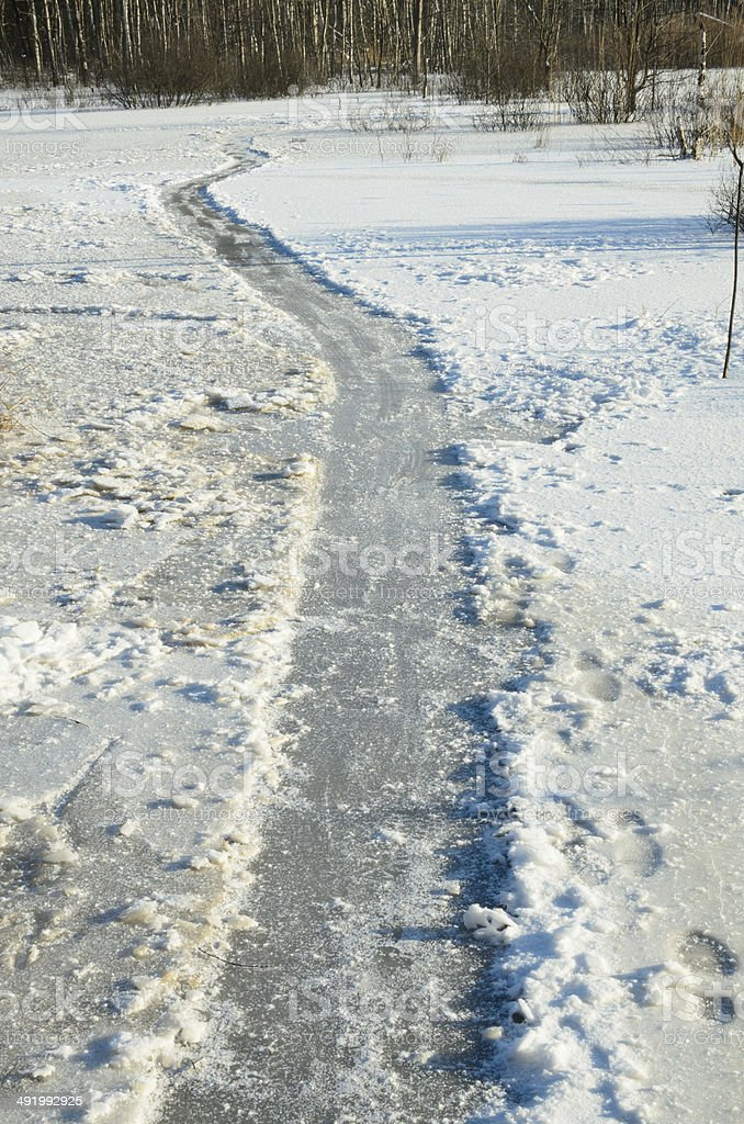 ice path on frozen lake royalty-free stock photo