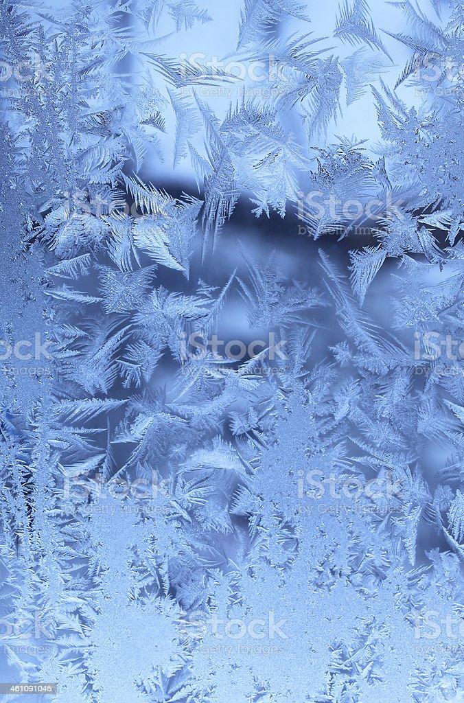 Ice pattern on glass stock photo