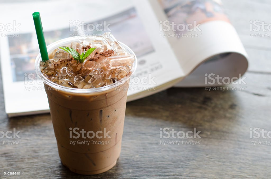 Ice peppermint mocha on wooden table stock photo