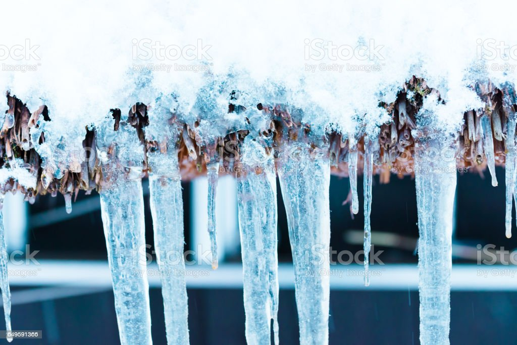 Ice Pillar,Winter Landscape of Japanease traditional village,in Gokayama,Toyama,Japan stock photo