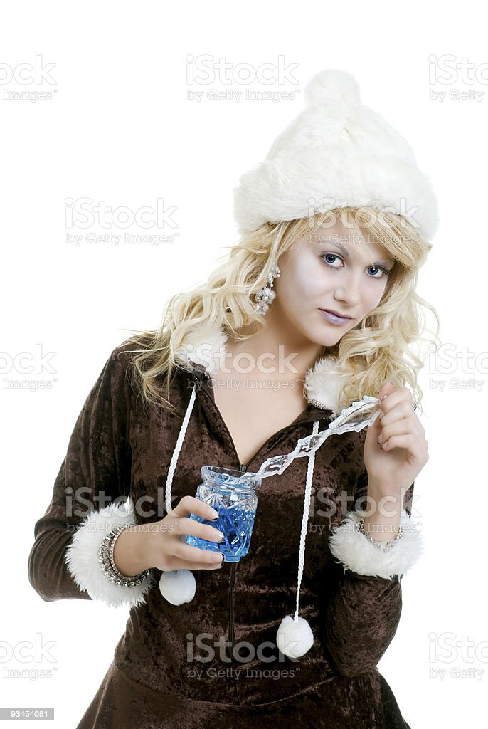 ice princess holding  icicle wand and crystal glass royalty-free stock photo