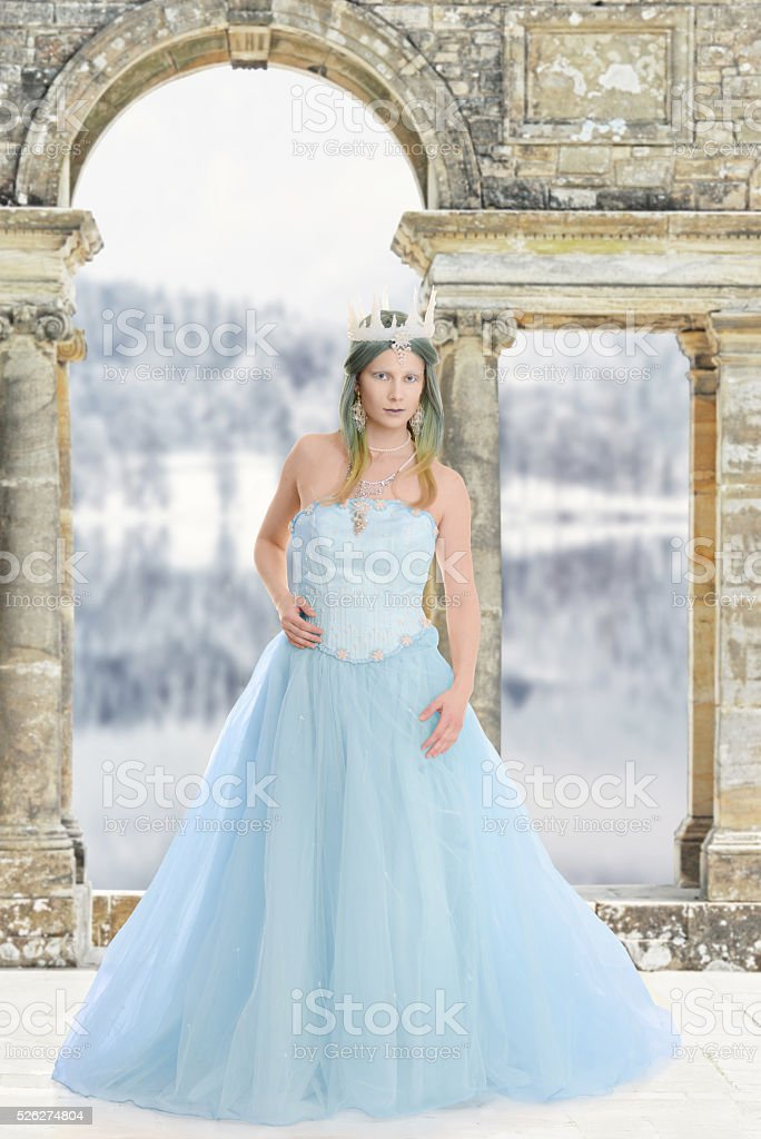 ice queen at her castle stock photo