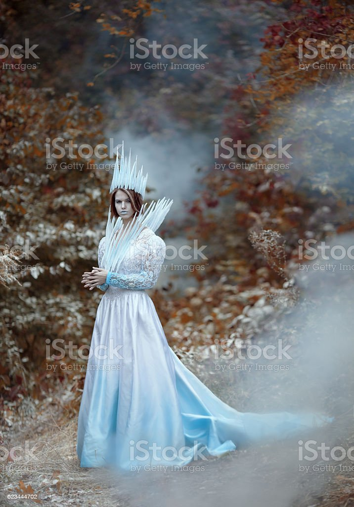 Ice queen coming to autumn forest stock photo