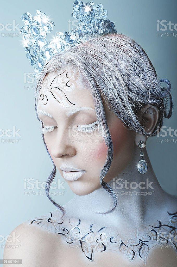 Ice queen girl stock photo