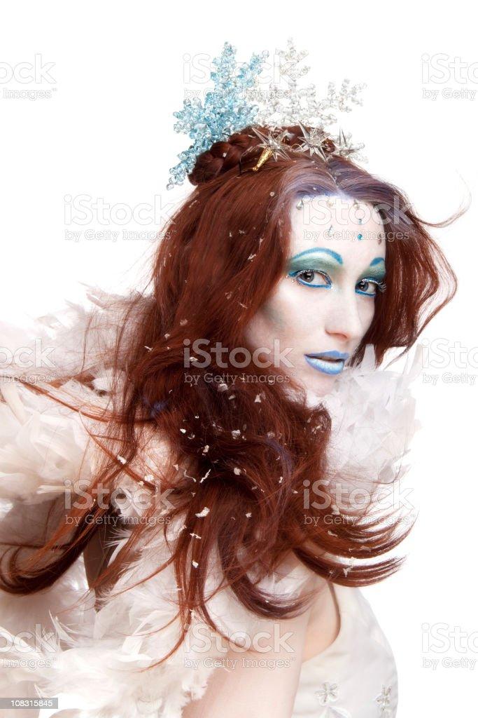 Ice queen on white stock photo