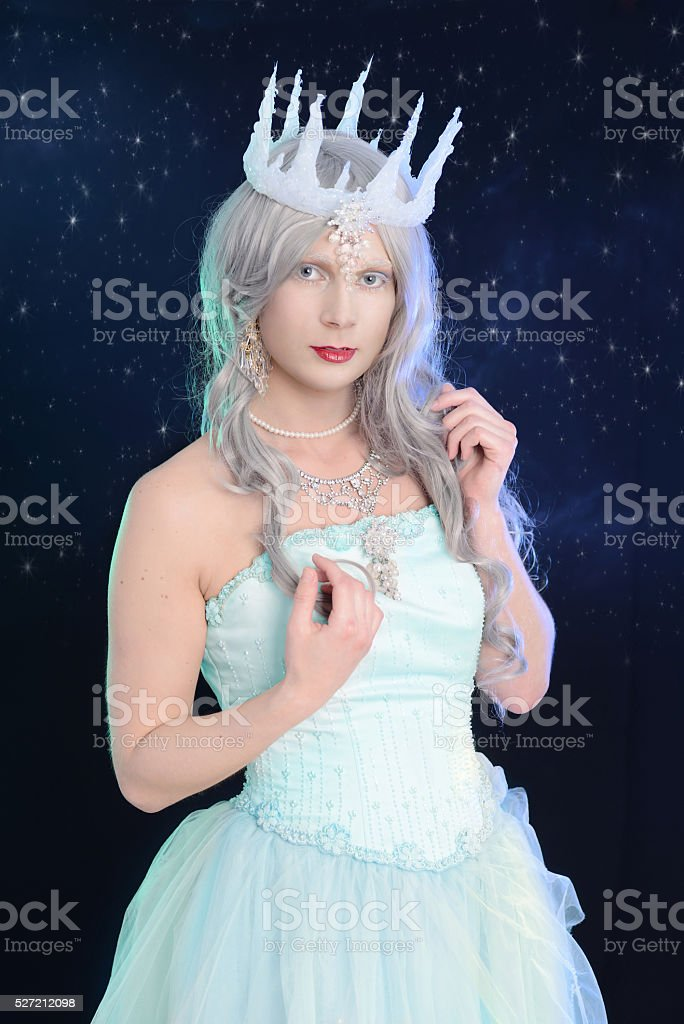 ice queen with night sky stock photo