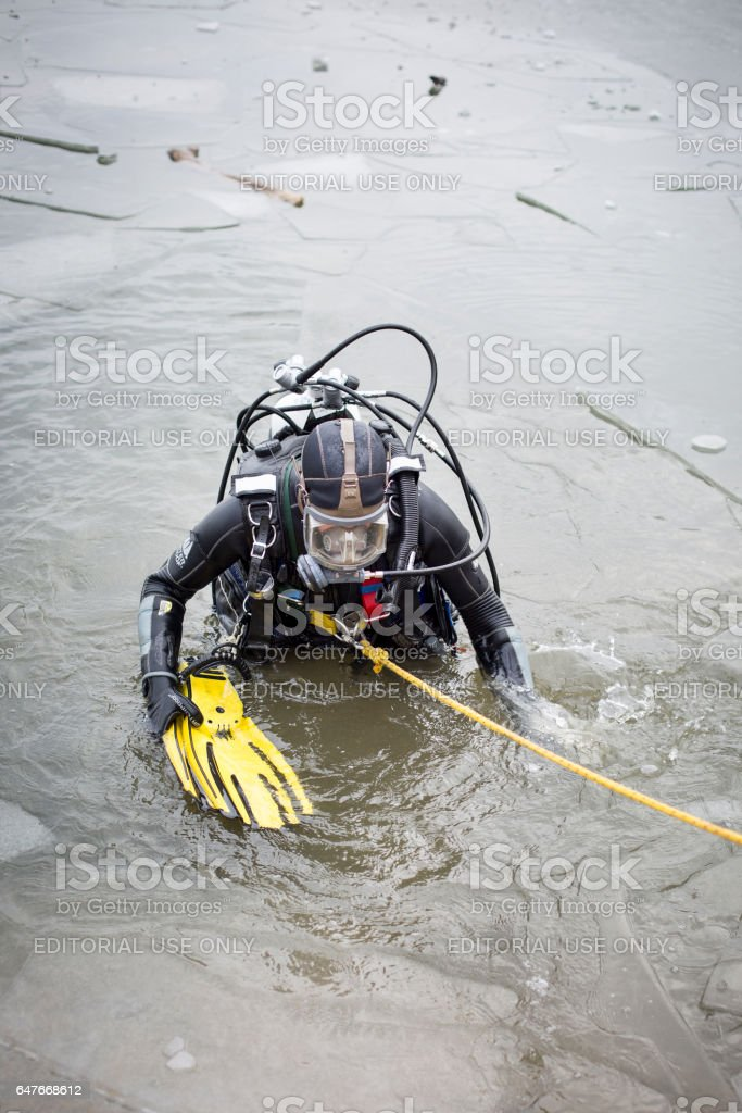 Ice rescue drill of DLRG at River Rhine stock photo