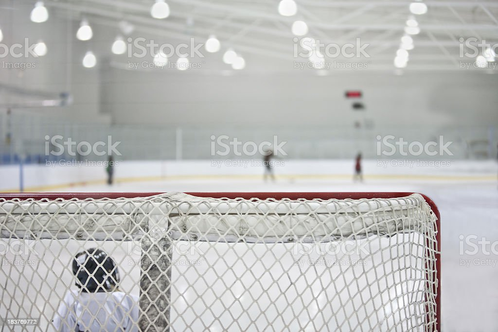 Ice Rink with Young Goalie royalty-free stock photo