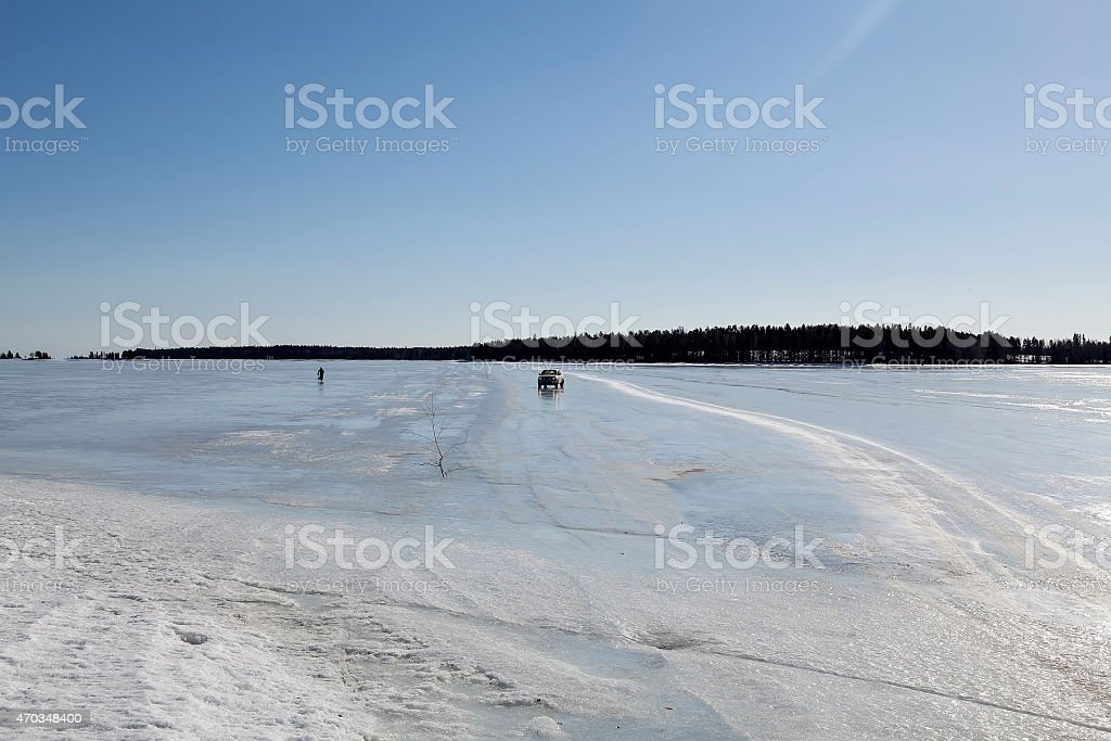 Ice road royalty-free stock photo