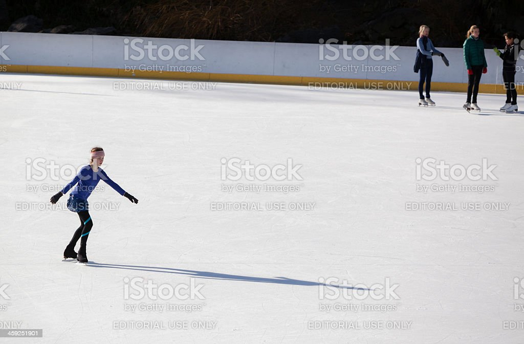 Ice scating in the Central Park stock photo