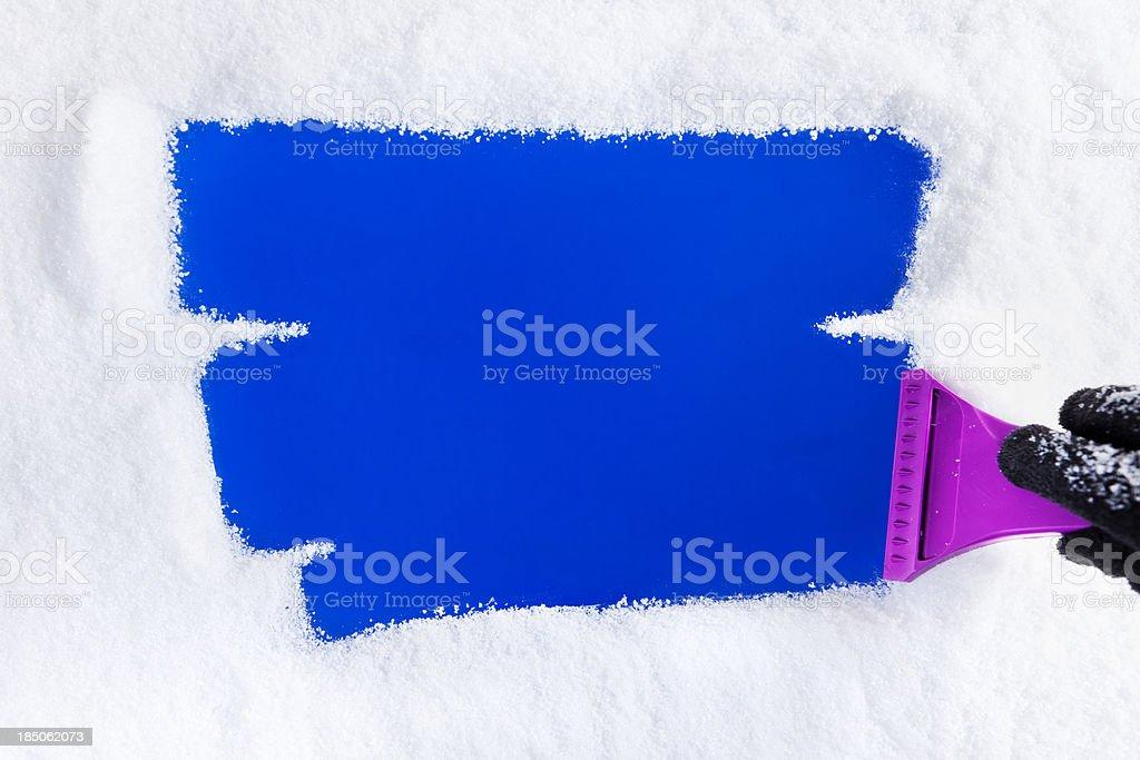 Ice Scraper on Window stock photo