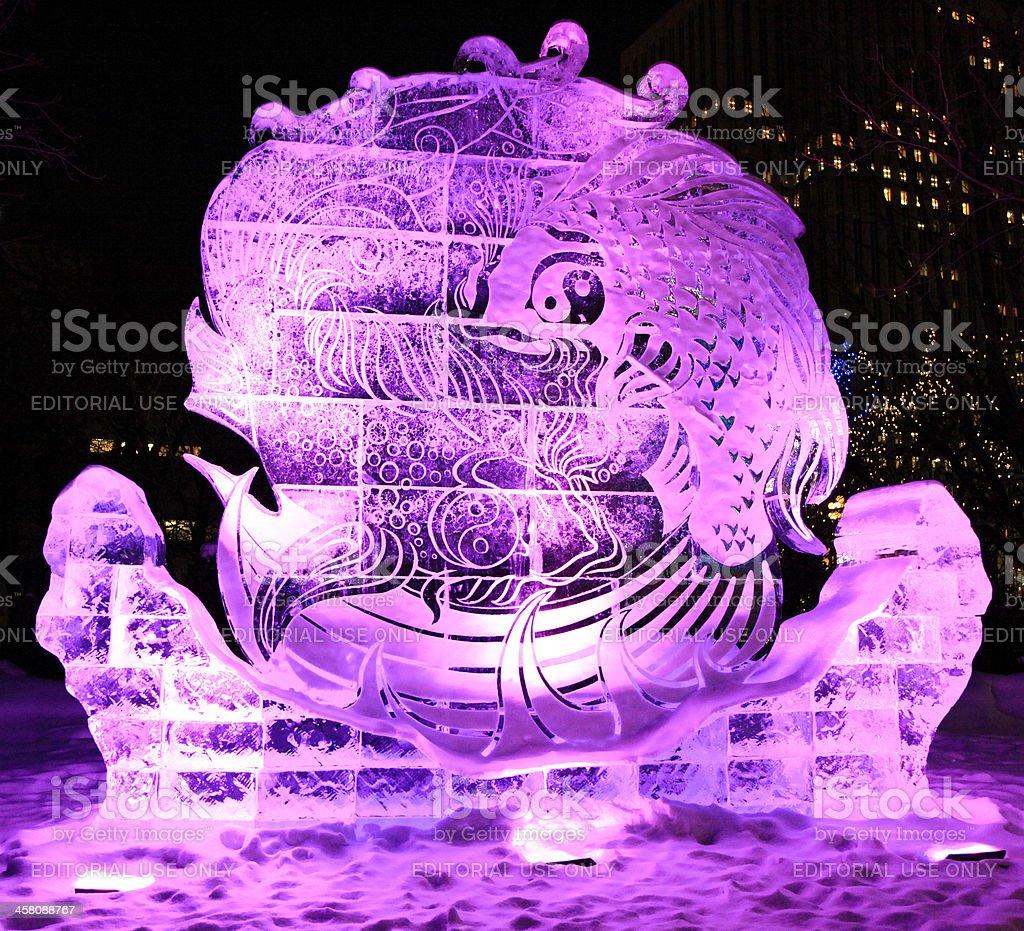 Ice sculpture at night, Winterlude, Ottawa stock photo