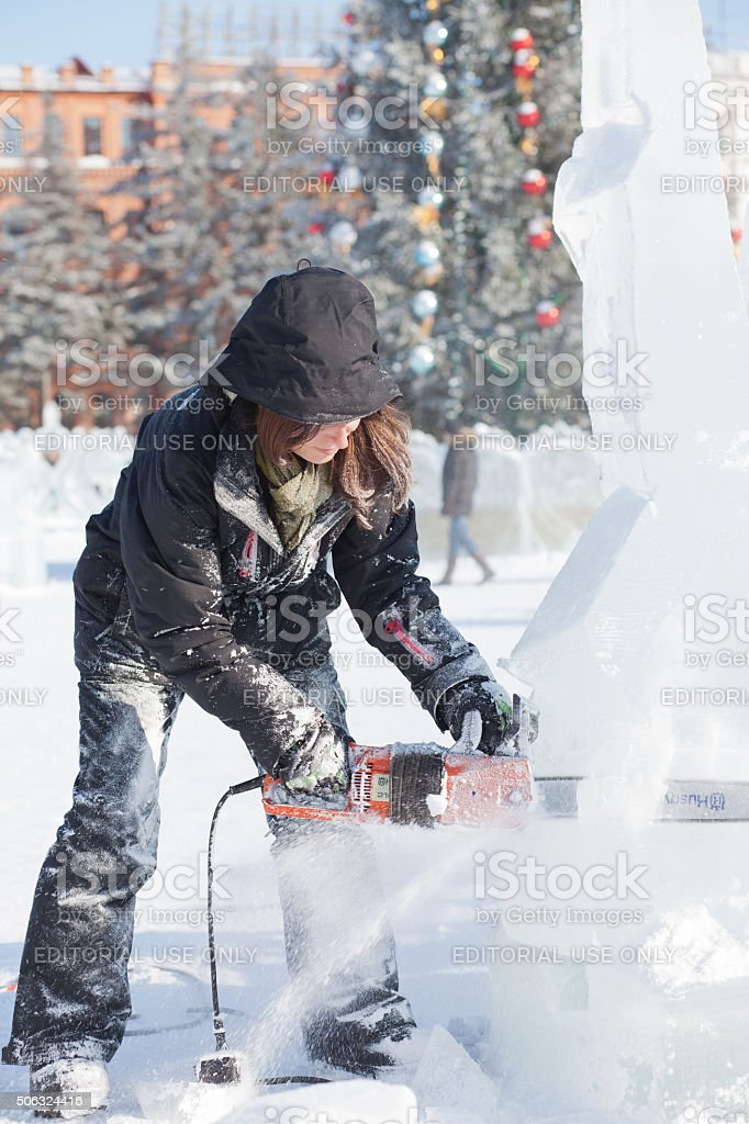 Khabarovsk, Russia - January 23, 2016: Ice sculpture competition stock photo