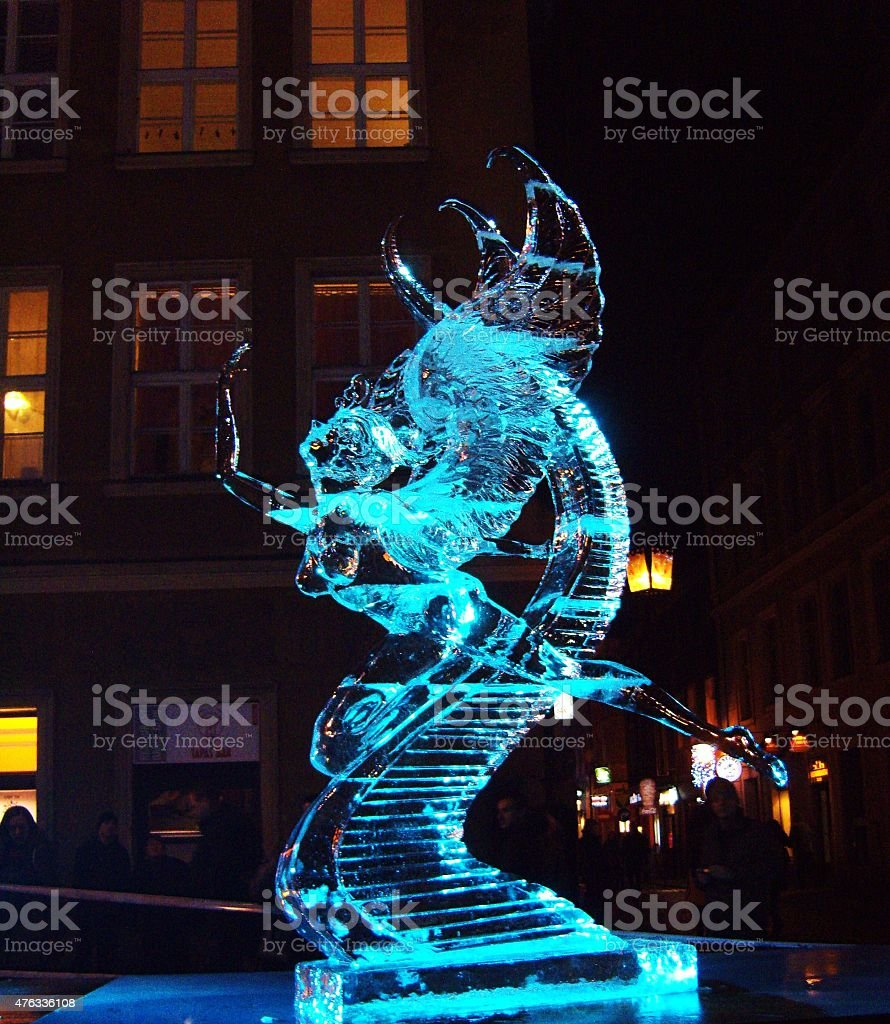 Ice sculpture in Poznan, Poland stock photo