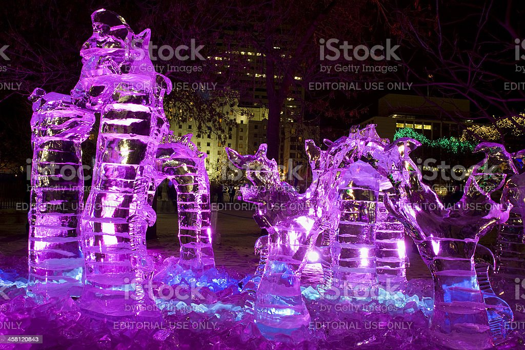 Ice sculpture of a  mythical dragon at night stock photo