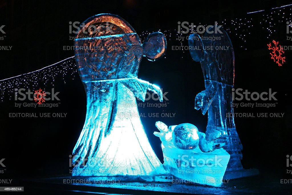 Ice sculpture of angels stock photo