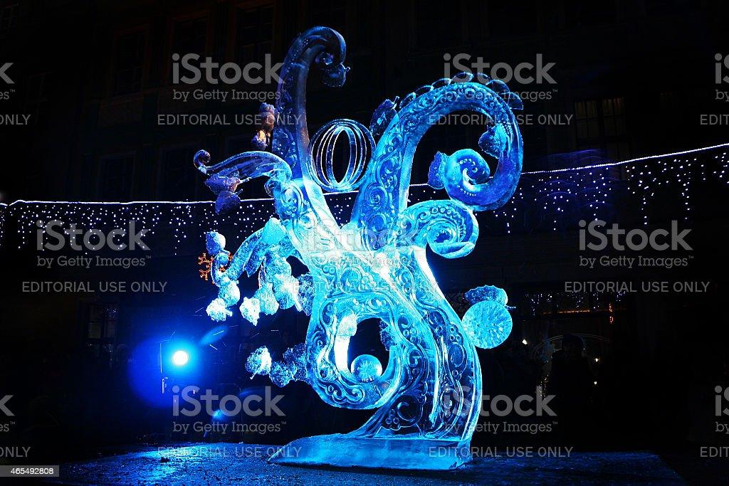 Ice sculpture of frozen fractals stock photo