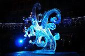 Ice sculpture of frozen fractals