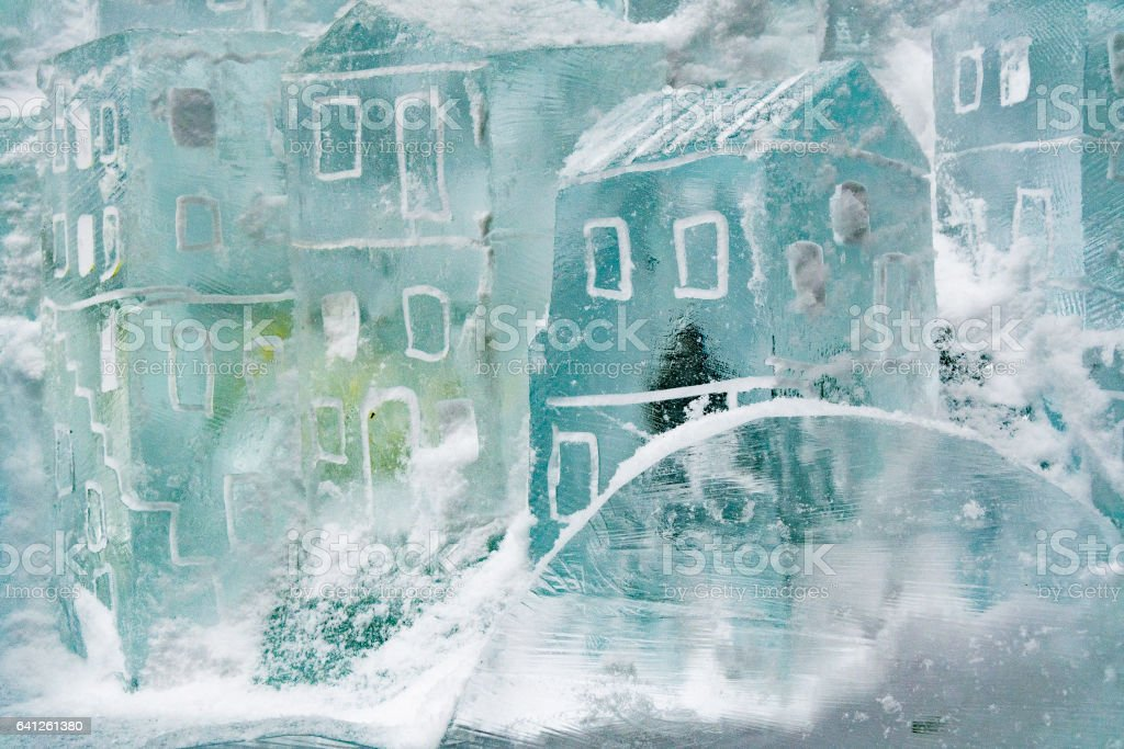 Ice sculpture, small house from ice. Ice masters competition at Hrebienok, Slovakia stock photo