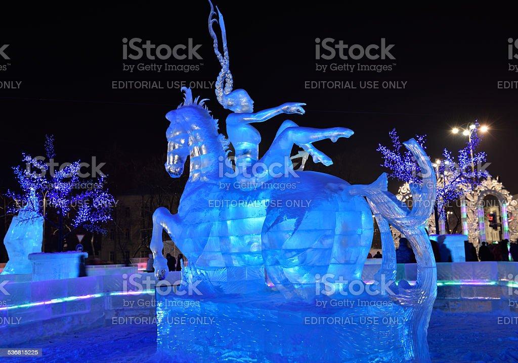 Ice sculptures in Yekaterinburg stock photo