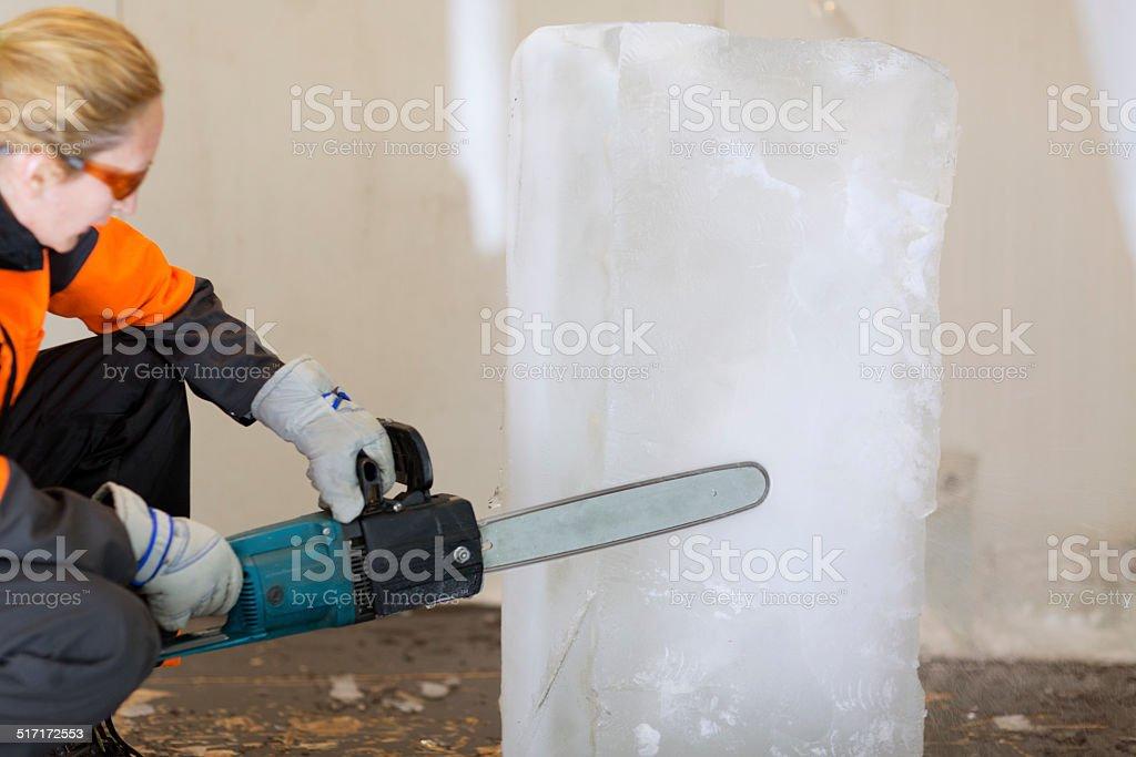 Ice sculpturing. stock photo
