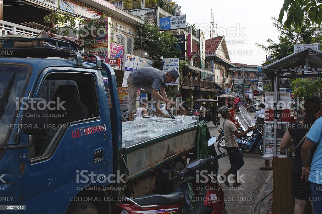 Ice seller in Siem Reap, Cambodia royalty-free stock photo