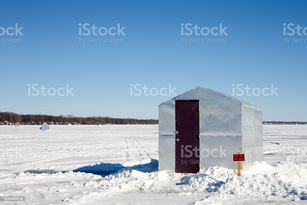 Ice Shanty with Funny Sign stock photo